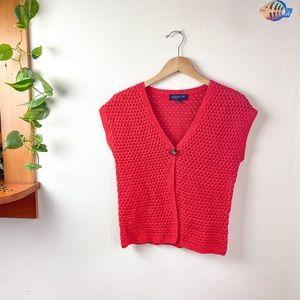 Linen Cotton Red Crochet Vest One Button Petite S